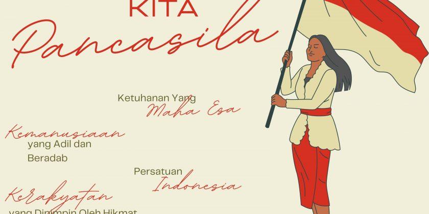 Copy of Poster Aku Cinta Indonesia Merdeka Teks Pancasila Ilustrasi Perempuan Merah Putih